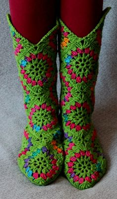 slippers cowboy boots, crocheted slippers, crochet granny squares, granny square slippers, crochet slippers, granni squar, boot socks, bright colors, crochet socks