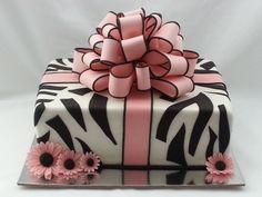 zebra striped cake, gift, zebra stripes, black zebra, zebra stripe cake, bow, zebra cakes, bridal showers, birthday cakes