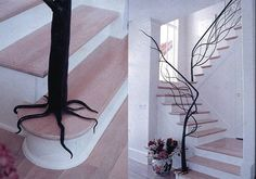 This tree stair railing fits into the whole nature theme...