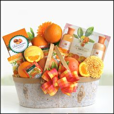 Orange and Grapefruit    Send springtime wishes for ultimate relaxation. This colorful gift will transport you to a spring orchard full of citrus delights.  http://www.marysgiftbaskets.com