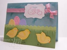 Easter card... Chicks made using the Stampin' up bird punch! stamp, craft, happi easter, easter card, easter chick, punch art, bird punch, birds, cards