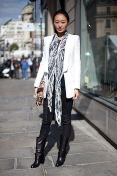 STREET STYLE SPRING 2013: PARIS FASHION WEEK - A great scarf and calf length boots spell effortless chic.