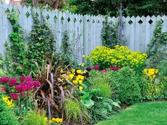 Blue Stained Stockade Style Fence Surrounds Garden