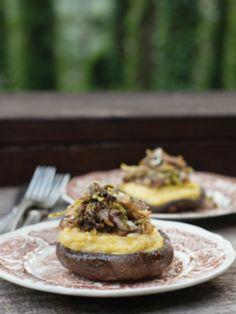 Polenta Stuffed Portobellos #Vegetarian #goatcheese