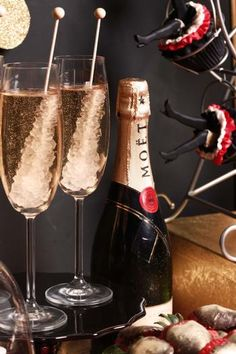 Rock Candy + Champagne = PERFECT NYE DRINK