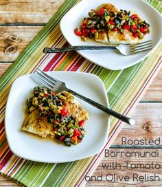 Roasted Barramundi with Tomato and Olive Relish; mind-blowingly good and easy for an after-work dinner! [from Kalyn's Kitchen] #SouthBeachDiet #LowCarb #Paleo #GlutenFree