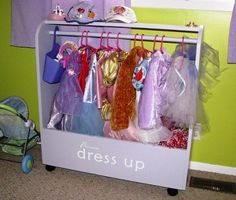 """Want to get organized? Tired of dress-up clutter in your child's closet? Or on the floor? Use these fun labels to add flair and organization to all of your child's things as seen on the """"Build Your Princess a Dress-Up Storage Center"""" of http://ana-white.com/2010/11/craftiness-is-not-optionals-dress-up-storage.html"""