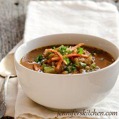 Italian Lentil Vegetable Soup from Jennifers Kitchen.com