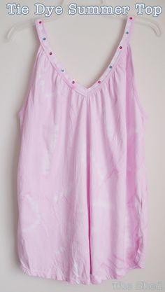 DIY: Tie Dye Summer Top using Elmer's gel glue as a resist plus Tulip tie dye, from The Shed blog