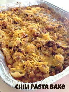 Chili Pasta Bake  ~ an easy and delicious recipe for large gatherings or when providing meals to others | 5DollarDinners.com dish, dinner, bake chili, food, chilis, chili pasta bake, casserol, delici recip, meal