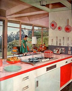 Vivid red and white mingle with pale pink in this charming (Valentine's Day perfect - one can't help but observe) kitchen from 1958. #vintage #1950s #kitchesn #interiors #pink