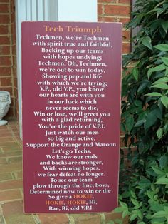 Virginia Tech HOKIES Tech Triumph Lyrics - $69.00, via Etsy.