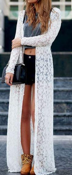 Sea Goddess Full Lace Long Cardigan