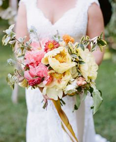 bouquet of peonies in yellow + coral