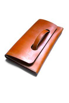 Evening clutch bag in 12oz English bridal leather.