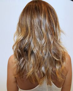 perfect warm golden brown and blonde highlights. Sun-kissed.