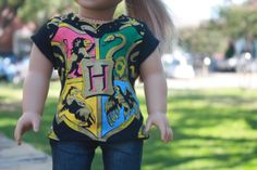 NEW  Black Harry Potter Crest Tee for American by LostinaJungle