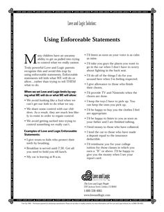 Parenting handout on how to use Enforceable Statements with your kids - from Love and Logic