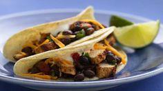 Chicken tacos with black bean and cilantro salsa