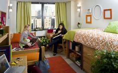 I love the layout of this dorm! It's nice and clean and looks vibrant and comfy