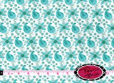 SALE AQUA PAISLEY Fabric by the Yard Half Yard or Fat Quarter Floral Fabric Teal Fabric Turquoise Fabric 100% Cotton Quilting Fabric w3-15