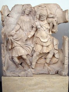 Sebasteion, Aeneas flees from Troy with Anchises, Ascanius, and Aphrodite.    Aphrodisias Museum.
