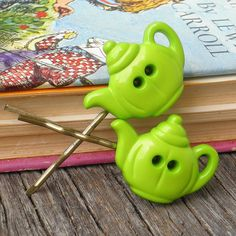 Lime Green Button Bobby Pins $3