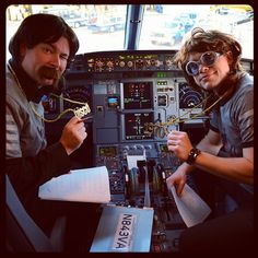 On a special @GiltCity #MiamiFOAM flight our pilots get super groovy with gold chains, glasses and a 'stache.