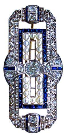 Art Deco Platinum, Diamond, Sapphire & Pearl Brooch