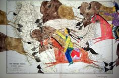 I love this guys work (but I can't afford it) - met him at a pow wow. U.S. Map, Michael Horse, ledger art