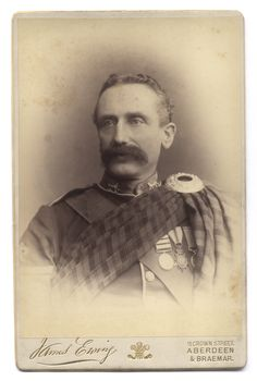 """Unidentified staff sergeant of the 2nd Battalion, Gordon Highlanders. The sergeant wears  the 1881 Afghanistan Medal with three clasps, the 1881 gun metal bronze """"Kabul to Kandahar"""" star and a Long  Service and Good Conduct Medal.  c. 1880's"""