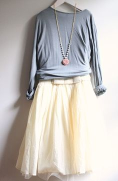 cream tulle skirt and dusty blue top