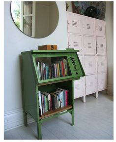 Repurposed newspaper stand bookshelf.