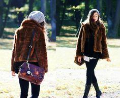 Fur coat, Lace-up boots