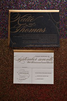 White and Gold Wedding. Black and Gold wedding invitations