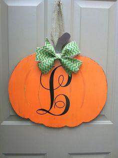 Wooden Pumpkin Door Hanger on Etsy, $30.00