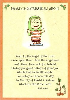 """The next time you hear that """"they"""" are taking Christ out of Christmas, remember that Charles Schultz was able to tell the story of Christ in a sweet & endearing way! It is a classic and has nothing to do with Santa Claus.  Blessed be his ministry.  @"""