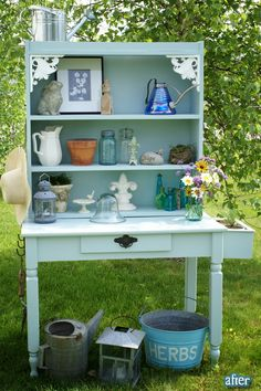 this was made from an old desk and an old bookshelf!  so cute!