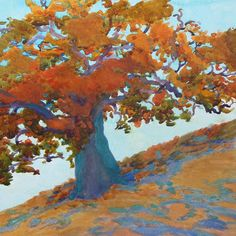 October Oak 12 x 12 plein Air watercolor robin purcell , watercolors in the plein air tradition