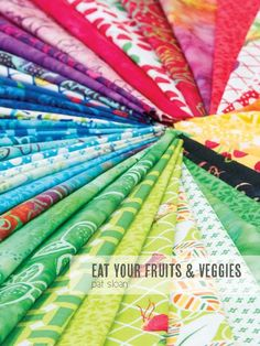 Moda quilting fabric. Eat your fruits and veggies. Coming soon to the Missouri Star Quilt Company.