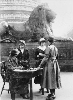 The Woman's Army Auxillary Corps was formed on 7th July 1917, on the table in the open on Trafalgar Square a temporary building was erected for the purpose of recruiting women for the war effort, by Leonard Bentley Flickr