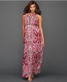 INC International Concepts Plus Size Dress, Halter Paisley-Print Maxi Only@Macys  Web ID: 971334