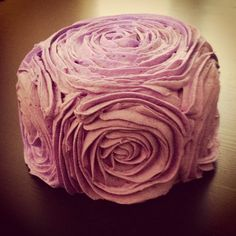 Purple Rose frosted themed Happy Birthday Cake
