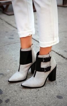 grey and black ankle boots (booties)