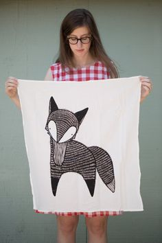 Fox Tea Towel Printed with Eco Friendly Inks by Gingiber on Etsy, $18.00