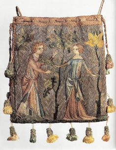 Purse depicting lovers, worked in Paris c. 1340  Linen embroidered in silk in split, chain, stem and knot stitches, the background of gold threads couched with red silk. Museum of London? 'Medieval Craftsmen: Embroiderers' by Kay Staniland pg 43