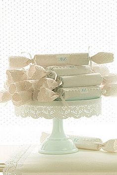 lace cracker, lace cakes, baby shower favors, mariag vintag, cake stands, christma, babi shower, bridal showers, parti