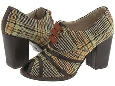 Plaid heels with laceups. More