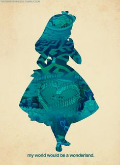 :) disney movies, silhouett, fan art, rabbit hole, disney style, disney princesses, alice in wonderland, queen of hearts, poster
