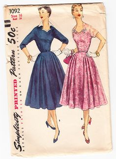 Vintage 1955 Simplicity 1092 Sewing Pattern by SewUniqueClassique, $20.00